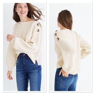 Madewell Boatneck Bubble-Sleeve Pullover Sweater